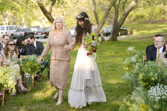 celebrity wedding inspiration bohemian romance real wedding bride walks down aisle