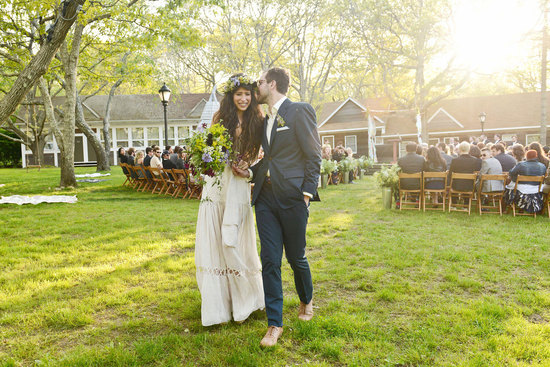 celebrity wedding inspiration bohemian romance real wedding bride and groom exit ceremony