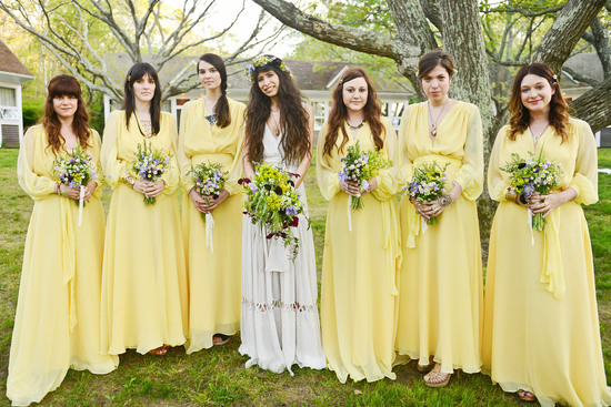 celebrity wedding inspiration bohemian romance real wedding bridesmaids in yellow