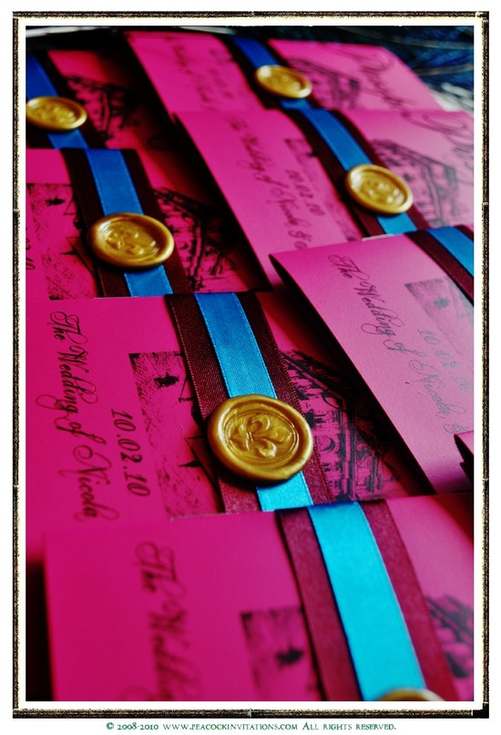 fuchsia gold wedding inspiration handmade invitations gold wax seal