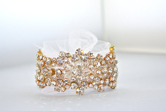 elegant wedding jewelry custom bridal bling accessories gold crystal cuff with tulle tie