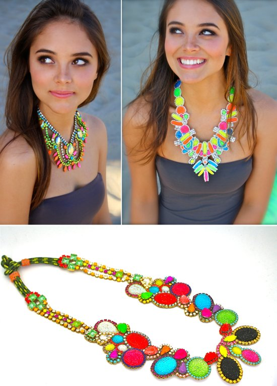 bright neon necklaces for bridesmaids
