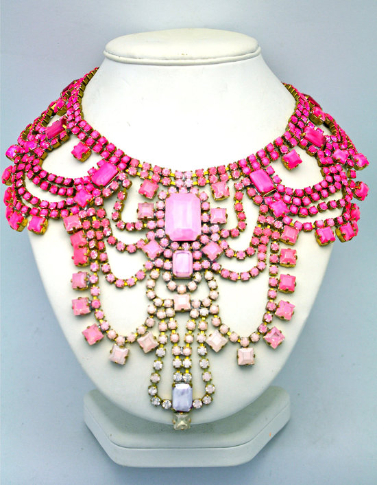 bridesmaid gift ideas bright statement necklace pink ombre