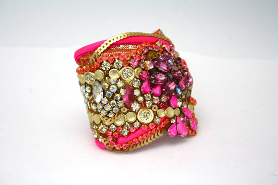 bridesmaid gift ideas bright statement cuff bracelet pink gold