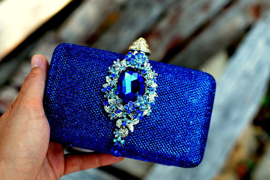 Wedding color inspiration navy blue bridal wedding finds bridal clutch something blue