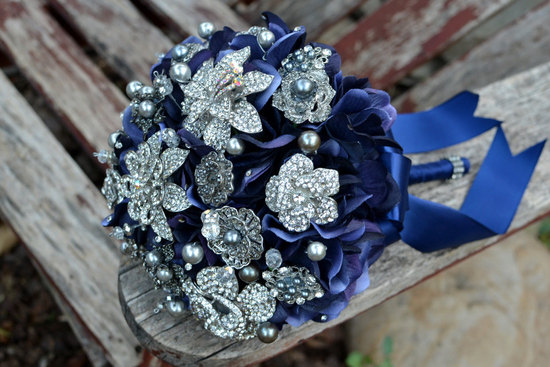 navy silver brooch bouquet