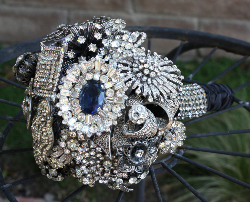 brooch bouquet for the bride rhinestones sapphires