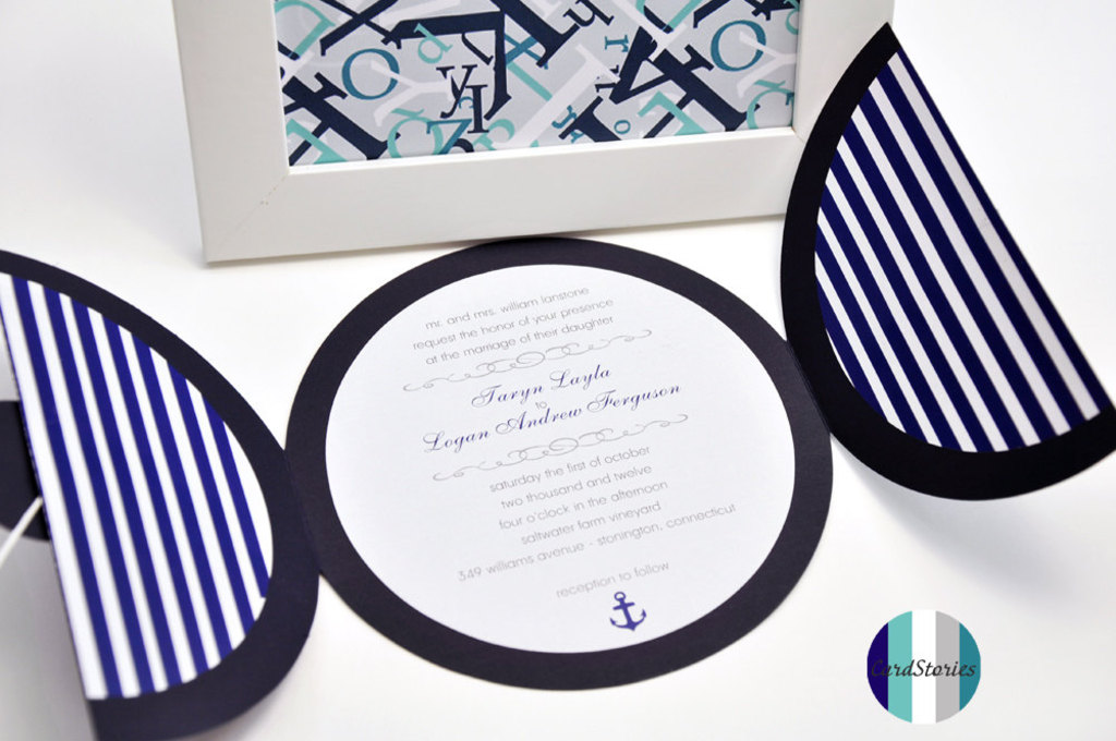 Wedding Color Inspiration Navy Blue Ceremony Reception Finds Round Invitations