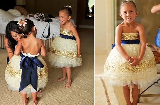 navy blue gold flower girl dress