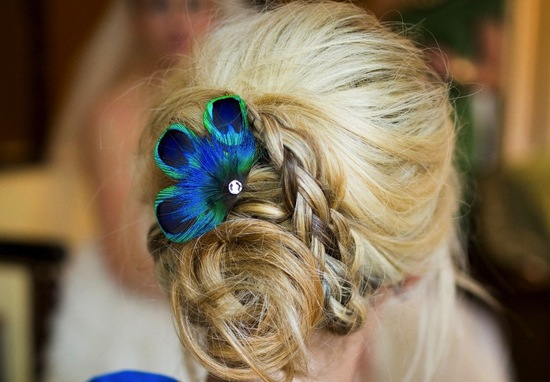 wedding color inspiration navy blue bridal wedding finds peacock feather fascinator