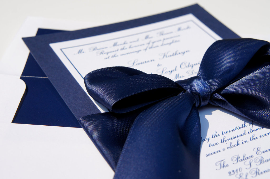 wedding color inspiration navy blue bridal wedding finds invitation with satin bow