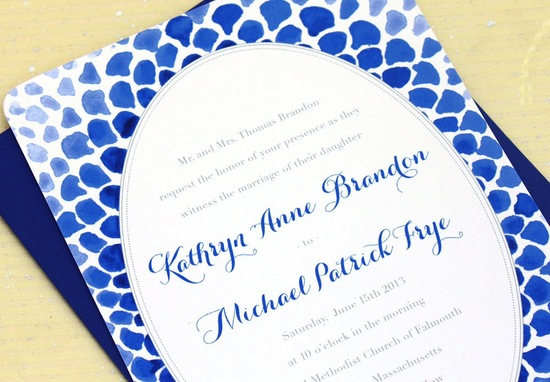 wedding color inspiration navy blue bridal wedding finds watercolor mosaic invitation
