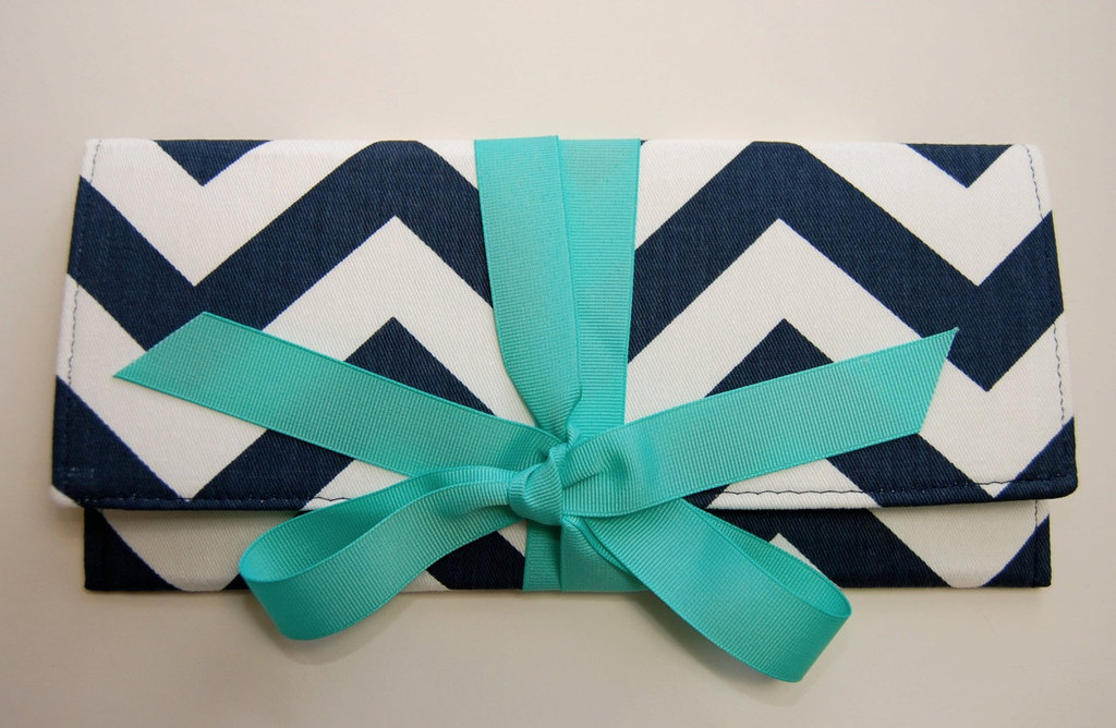 Wedding Color Inspiration Navy Blue Bridal Finds Chevron Clutch Turquoise Bow
