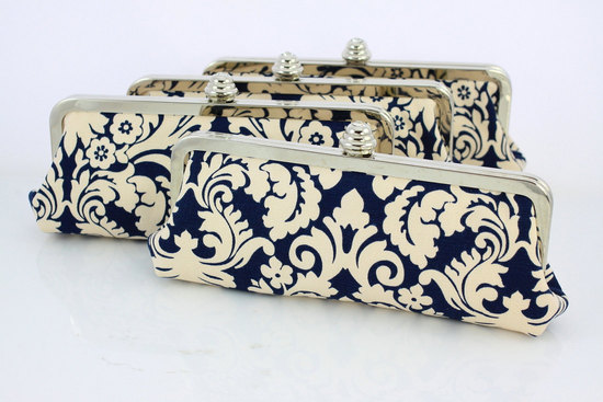 wedding color inspiration navy blue ceremony reception finds bridesmaid clutches