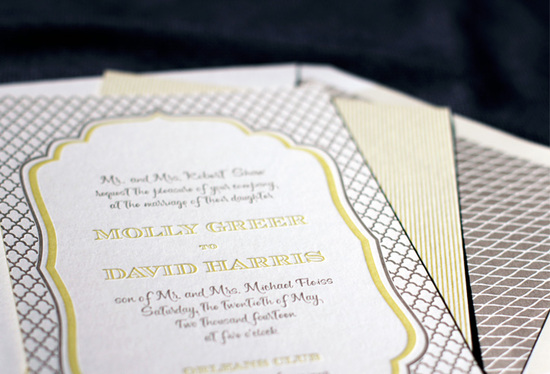 photo of letterpress wedding invitation inspiration smock wedding stationery gray chartreuse