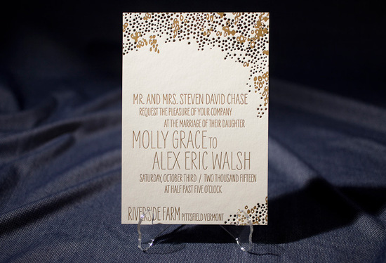 photo of letterpress wedding invitation inspiration smock wedding stationery gold black ecru