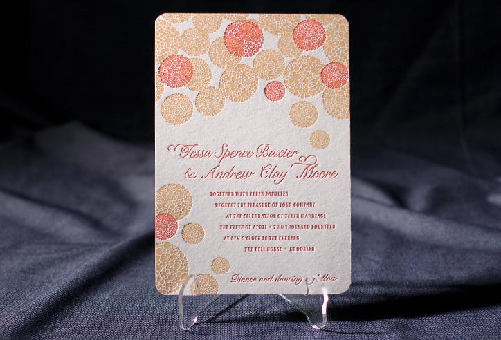 Letterpress Wedding Invitation Inspiration Smock Wedding Stationery Coral Gold 2