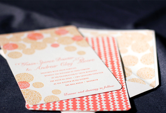 photo of letterpress wedding invitation inspiration smock wedding stationery coral gold