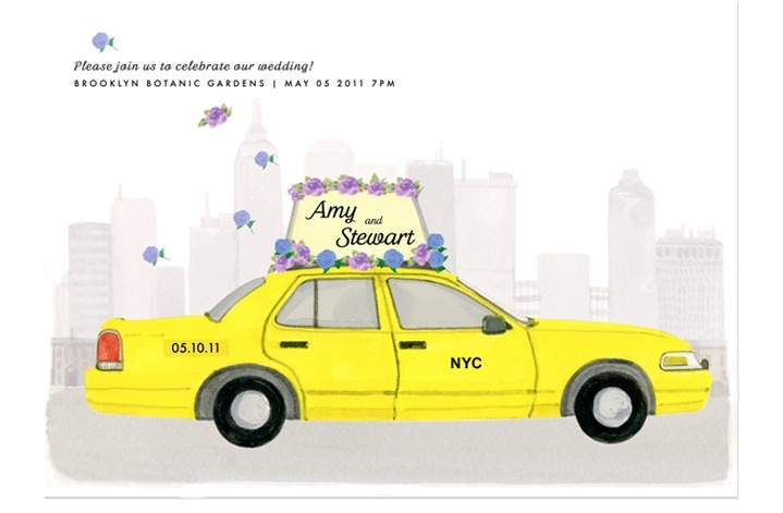 creative wedding invitation inspiration hand illustrated NYC