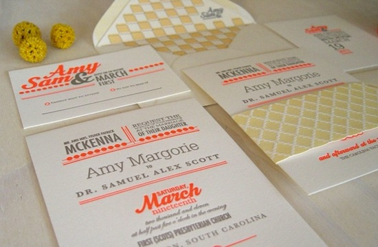 photo of letterpress wedding invitation inspiration stationery orange gray yellow