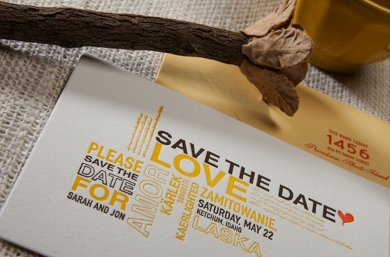 photo of letterpress wedding invitation inspiration yellow brown