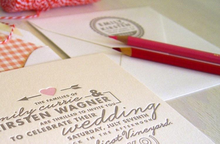 Letterpress Wedding Invitation Inspiration Taupe Ivory Light Pink