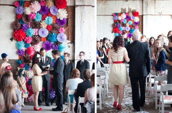 summer wedding DIY ideas colorful ceremony backdrop