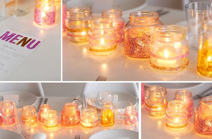 Summer wedding diy ideas sparkly glitter candles votives for Diy wedding ideas for summer