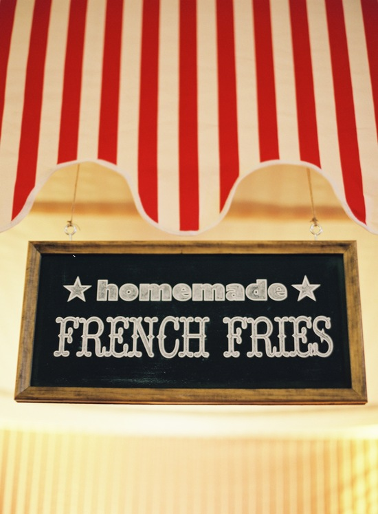 wedding-santa-barbara-chic-outdoor-barn-circus-fair-food-jose-villa-unique-wedding-appetizers-french-fry-chalkboard-sign-10