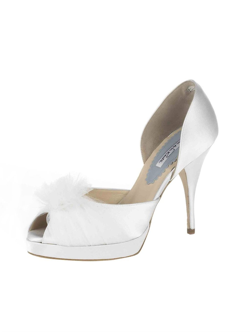 bridal shoes Oscar de la Renta wedding heels white satin dorsay tulle poof