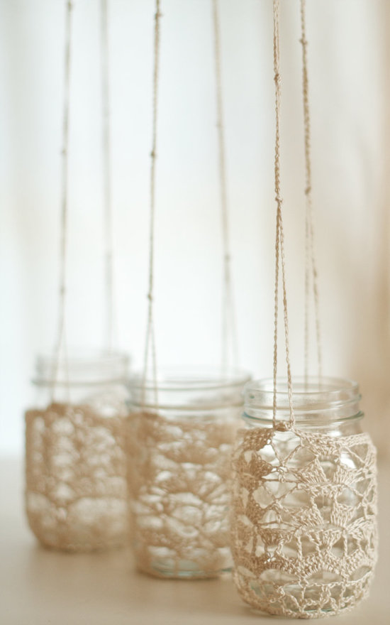 things brides love Mason Jar wedding reception decor centerpieces chrochet chandelier