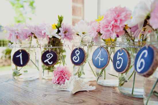 Mason Jar wedding reception decor centerpieces chalkboard table numbers