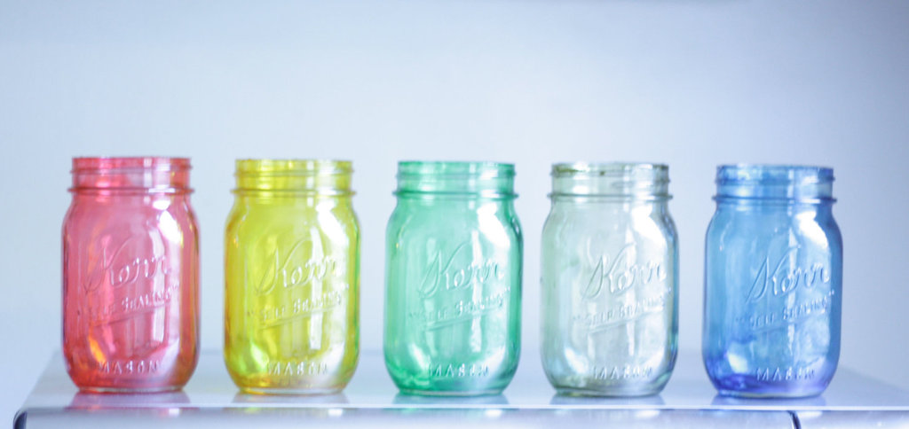 things brides love Mason Jar wedding reception decor centerpieces rainbow