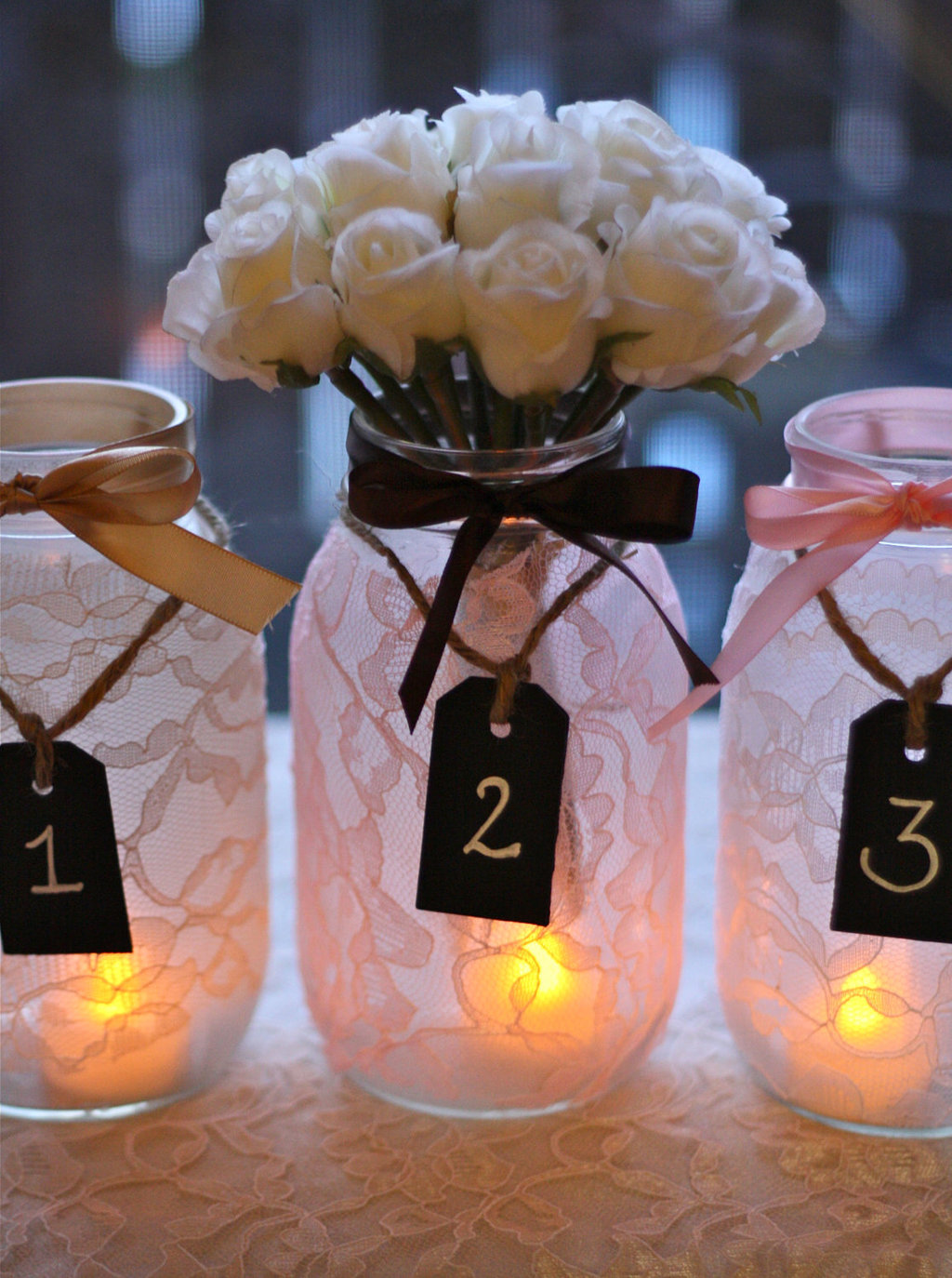 brides love Mason Jar wedding reception decor centerpieces lace ...