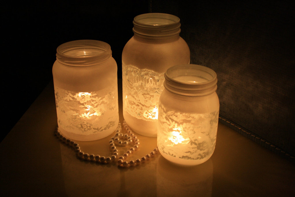 Things brides love mason jar wedding reception decor centerpieces frosted with lace.full