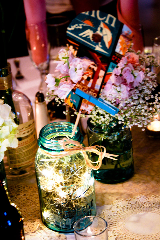 sparkling mason jar wedding centerpiece