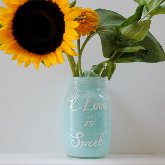 things brides love Mason Jar wedding reception decor centerpieces aqua Love Is Sweet