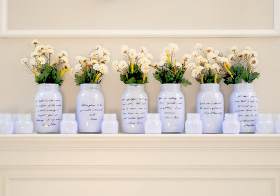 things brides love Mason Jar wedding reception decor centerpieces romantic light lilca