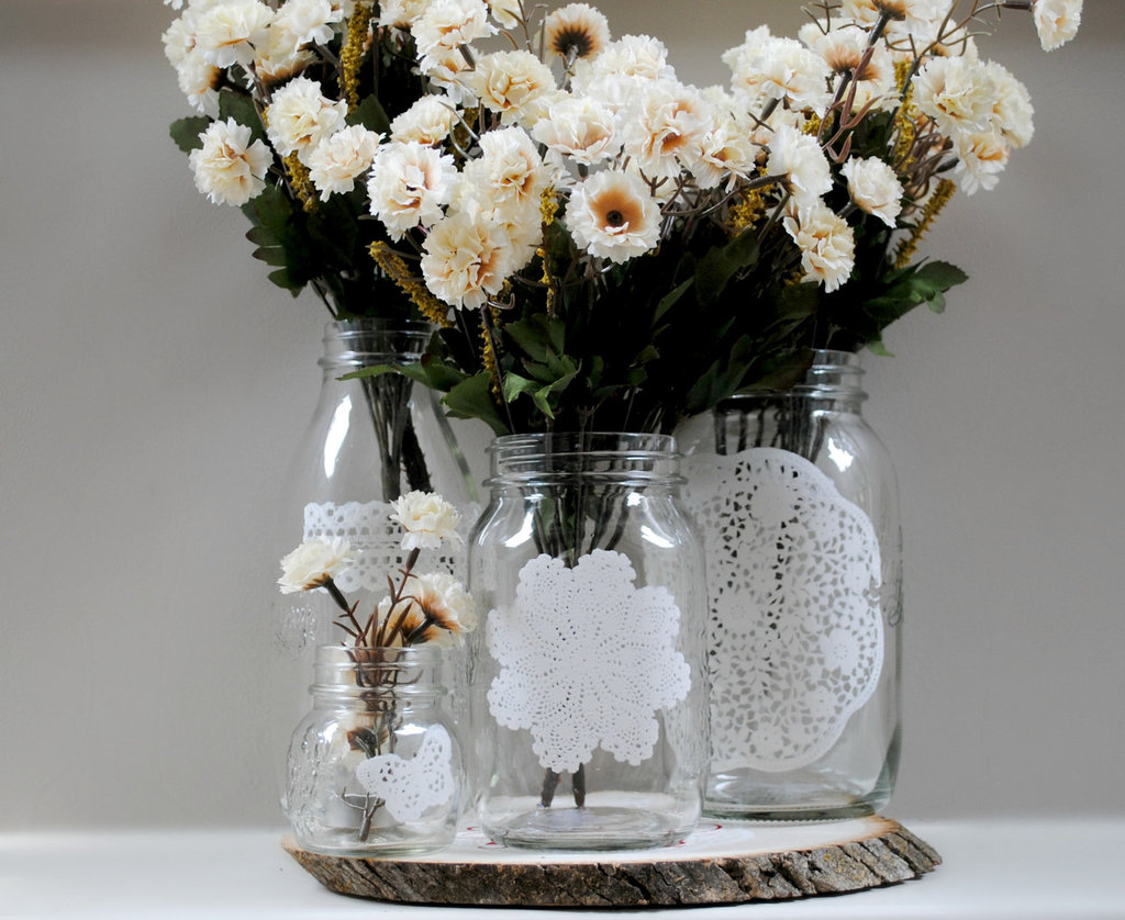 things brides love Mason Jar wedding reception decor centerpieces doily adorned