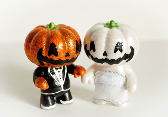 handmade wedding finds for Halloween themed I Dos jack o lantern cake topper