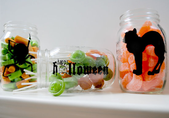 handmade wedding finds for Halloween themed I Dos mason jar favors