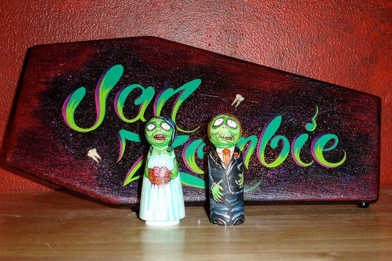 handmade wedding finds for Halloween themed I Dos zombie cake topper offbeat