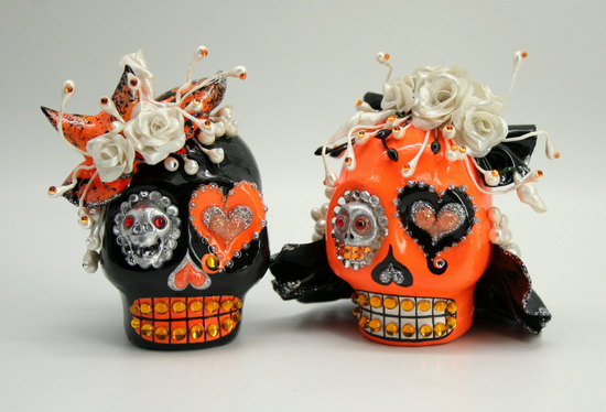 handmade wedding finds for Halloween themed I Dos orange black skull cake topper