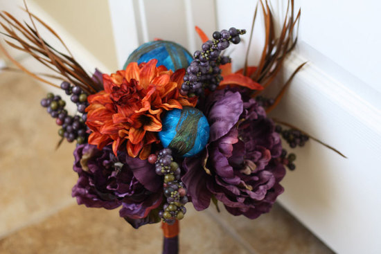 handmade wedding finds for Halloween themed I Dos orange purple blue bouquet