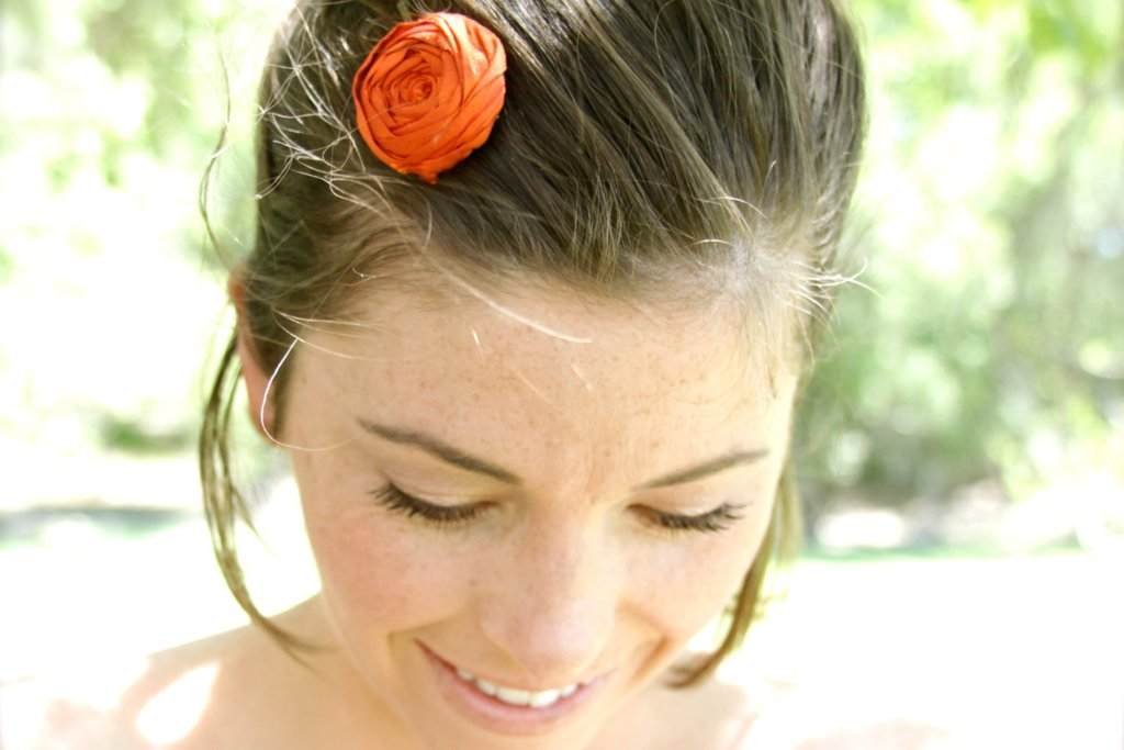 handmade wedding finds for Halloween themed I Dos orange hair accessory