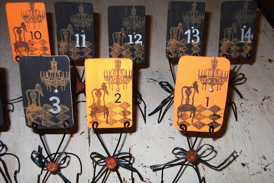 halloween wedding ideas for fall weddings Etsy handmade orange black spooky table numbers