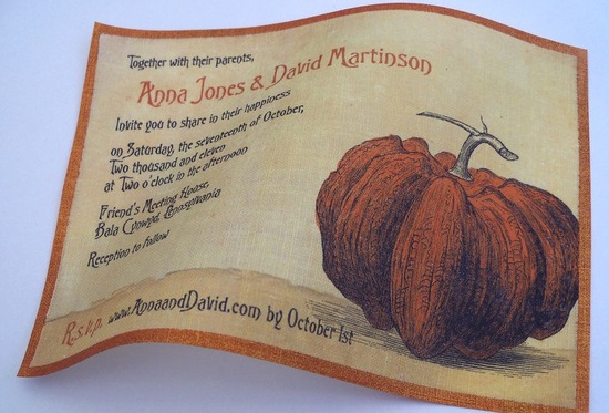 halloween wedding ideas for fall weddings Etsy handmade linen invitations