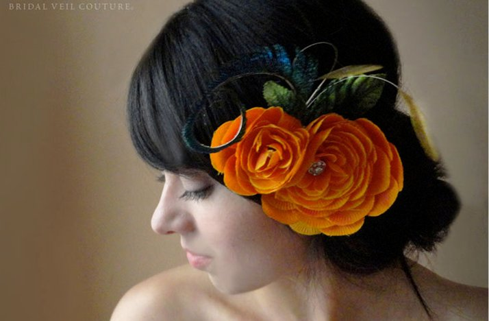 Orange-bridesmaid-hair-accessory-updo-for-halloween-wedding.full