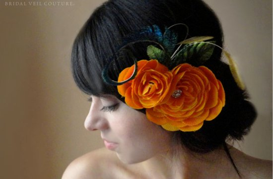 orange bridesmaid hair accessory updo for halloween wedding