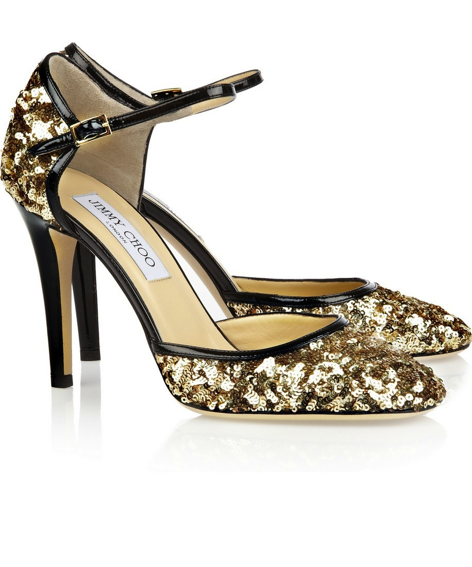 LAMDs for brides walking the wedding aisle Jimmy Choo sparkly gold heels